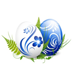 Easter Gzhel Decorated Eggs vector image vector image