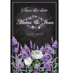 invitation with lavender and peony on chalkboard vector image vector image