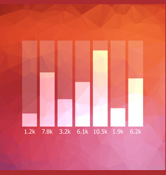 low polygonal graph icon with data vector image vector image