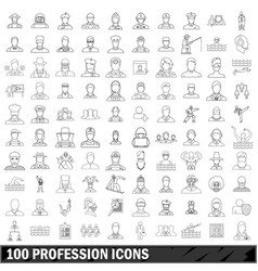 100 profession icons set outline style vector