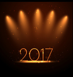 2017 new year background with golden lights vector image