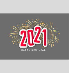2021 happy new year celebration fireworks style vector