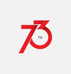 73 th anniversary template design vector