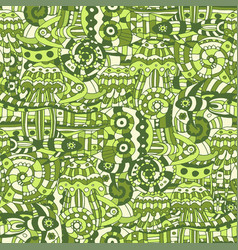 a doodle marine life pattern vector image