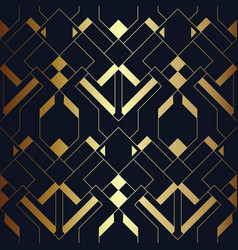 Abstract art deco seamless blue and golden pattern vector