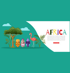 africa nature banner flamingo vector image