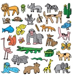 Animals cartoons set vector