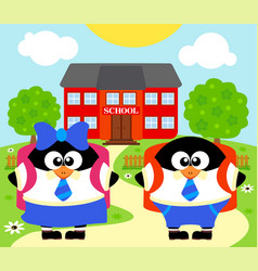 Back to school background with penguins vector