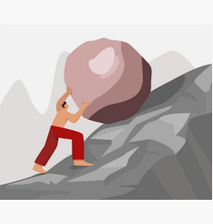 Barefoot strong guy climb up rock carry move to vector