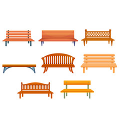 Bench icons set cartoon style vector