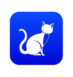 black cat icon digital blue vector image