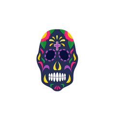 black mexican sugar skull painted with traditional vector image