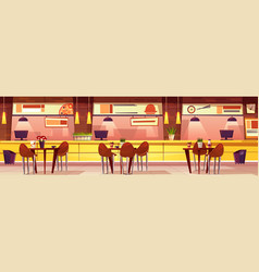 cartoon cafe with various cuisine vector image