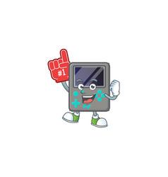 Cartoon design game console holding a foam finger vector