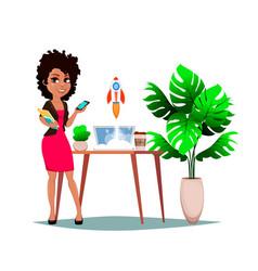 cheerful businesswoman cartoon character vector image
