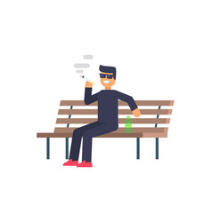 Cheerful smoking man colorful vector