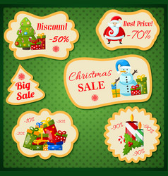 Christmas sale stickers with new year symbols vector