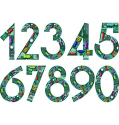 circuit numbers vector image