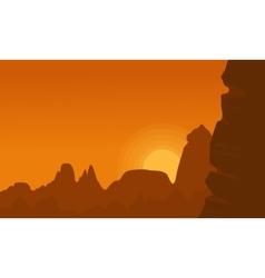 Cliff at sunset landscape vector