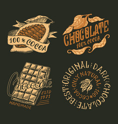 cocoa beans and chocolate bar vintage badge or vector image