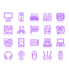 computer simple ultraviolet line icons set vector image