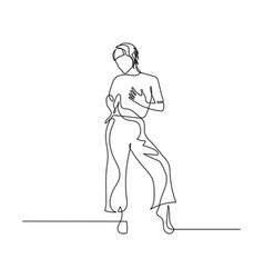 continuous one line dancing woman in sexy pose vector image