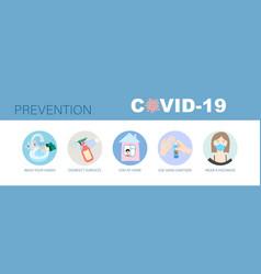 Coronavirus prevention icon set covid-19 vector