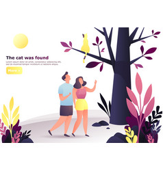 couple at forest or wood looking for a cat on tree vector image
