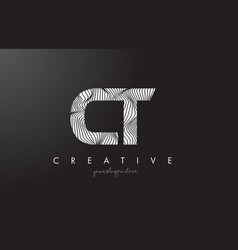 Ct c t letter logo with zebra lines texture vector