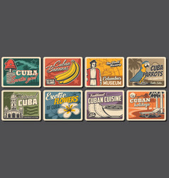 cuban travel food nature and culture posters vector image