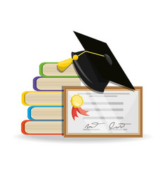 cute books with diploma and cap graduation vector image