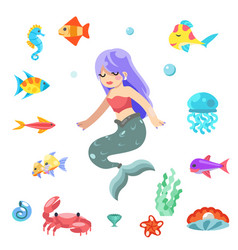 cute little mermaid swimming under sea fishes vector image