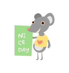 Cute mouse with a sign for text vector