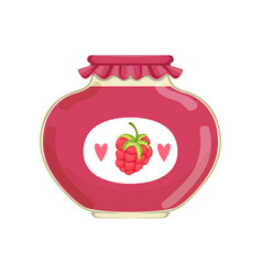 delicious raspberry jam in glass jar with brand vector image vector image
