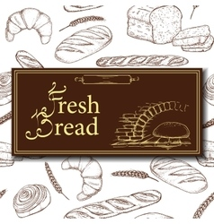 Design for bakery or baking shop with hand vector