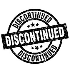 discontinued round grunge black stamp vector image