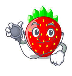 doctor character strawberry sweet in store fruit vector image
