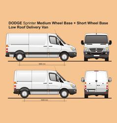 Dodge sprinter mwb and swb cargo van vector