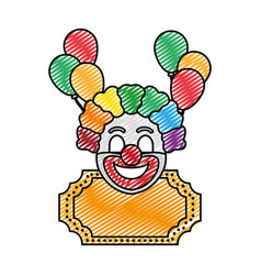 Doodle clown circus entertainment with decoration vector