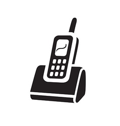 Electric black telephon icon on white background vector