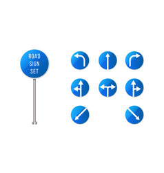 european road signs set blue rounded road sign vector image
