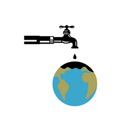 faucet dripping water on globe retro vector image