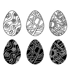 festive eggs for easter doodle drawings vector image