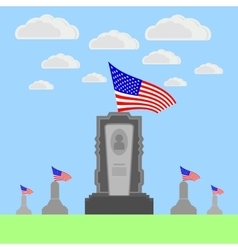 Flag of America Flying over Gravestone vector image