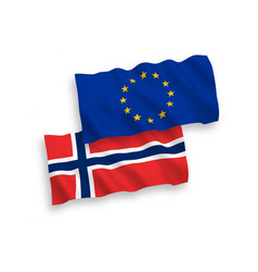 flags norway and european union on a white vector image