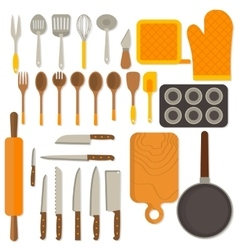 Flat design set of kitchenware isolated on white vector
