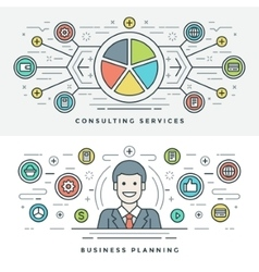 Flat line Services and Business Planning Concept vector image