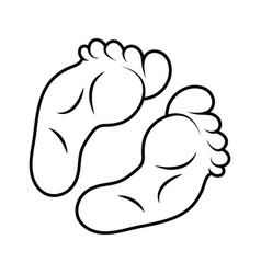 foot print icon outline design isolated on white vector image