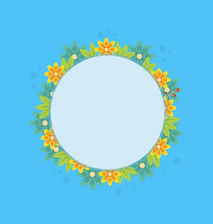 frame with spring flower on blue background vector image