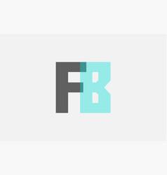 Grey pastel blue alphabet letter combination fb f vector